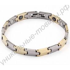 Стильный турмалиновый браслет со стальными и позолоченными вставками