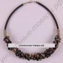 Ожерелье из натурального темного турмалина