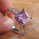 Серебристое кольцо с сиреневым турмалином