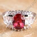Серебристое кольцо с большим овальным турмалином красного отлива